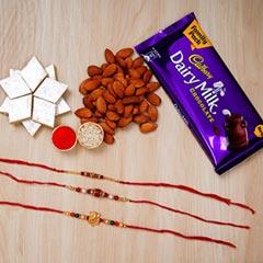 Beautiful Rakhi Set With Sweet..