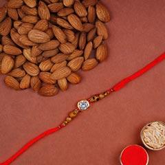 White Stone Rakhi With Almonds
