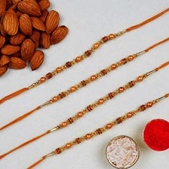 Golden Red Thread Rakhi With A..