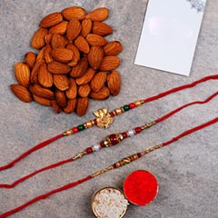 Combo Of 3 Rakhis And Almonds
