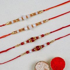 Set Of 4 Pearl Thread Rakhis