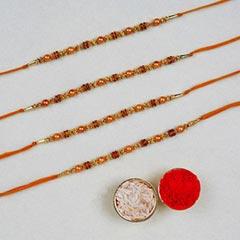 Set Of 4 Golden Red Thread Rak..