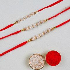 Set Of 3 Pearl Thread Rakhis