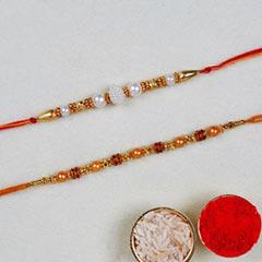 Set Of 2 Pearl Thread Rakhis