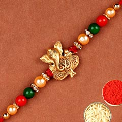 Golden Fancy Ganesha Rakhi