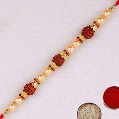 Golden Red Beaded Rudraksh Rak..