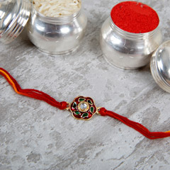 Cheerful Red And Green Rakhi