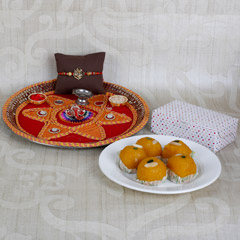 Bright Rakhi And Sweets Combo