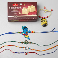 Set Of 5 Assorted Rakhis With ..