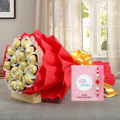 Chocolate bouquet with Rakhi