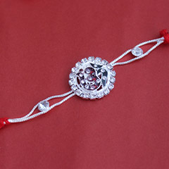 Striking Om Silver Rakhi