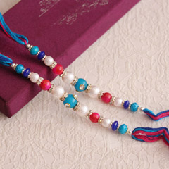 Colorful Beads Rakhi Pair