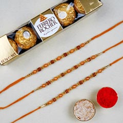 Golden Red Thread Rakhi With F..
