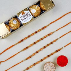 Golden Red Thread Rakhi And 6 ..
