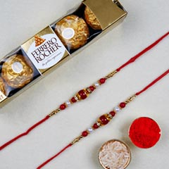 Red Pearl Thread Rakhi With 6 ..
