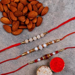 Almonds And 3 Designer Rakhis