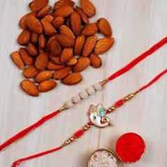 Set Of 2 Rakhis And Almonds