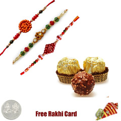 3 Rakhis with 3 Piece Ferrero ..
