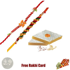 2 Rakhis with 450 grams Kaju K..
