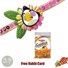 Angry Bird Rakhi with Gold Fis..