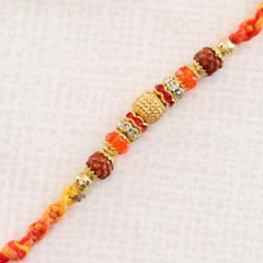 Fancy Orange Red Rakhi Thread