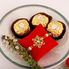 Floral Rakhi & 3pc Ferrero Roc..