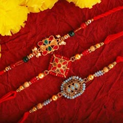 Fashionable Triple Rakhi Set