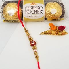 Red Beaded Rakhi & FR 3 pcs