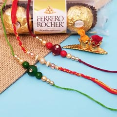 3 Colored Rakhis with Ferrero