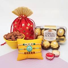 Triple Rakhi Set with Ferrero ..
