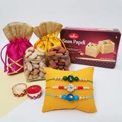 3 Rakhis, Soan Papdi & Nuts