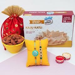 2 Rakhis with Kaju Katli & Alm..