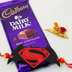 Superman Rakhi with Cadbury