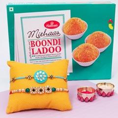 Rakhi Pair Colored with Boondi..