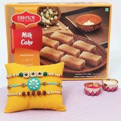 Triple Rakhi Set with Milk Cak..