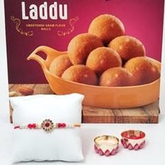 Rakhi wishes with Besan Laddu