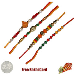 Set of 4 Beads Rakhi