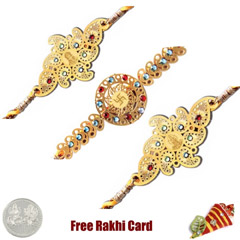 24 Ct. Gold Rakhi  Set of 3